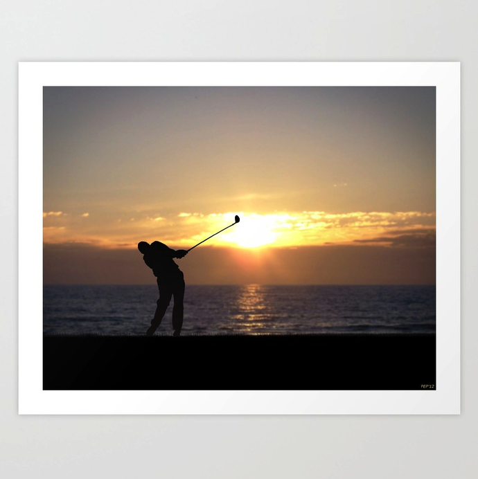 Playing Golf At Sunset