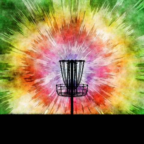 Tie Dye Disc Golf Basket
