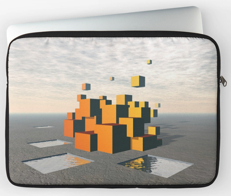 Floating Orange Cubes Mirage Laptop Sleeve