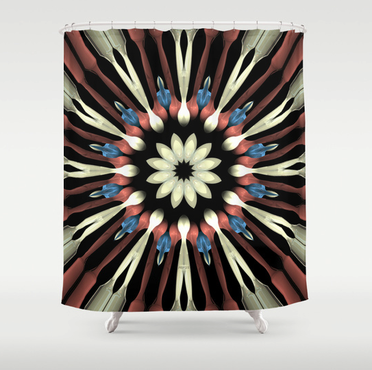 Abstract Concentric Flower Shower Curtain