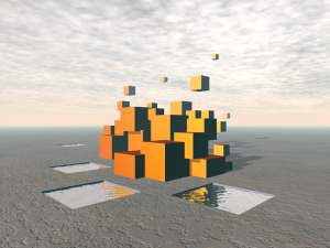 Surreal Floating Cubes