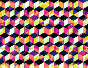 Geometric Cubes Pop Art