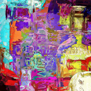 Colorful Glass Bottles Abstract