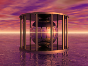 Metal Cage Floating In Water
