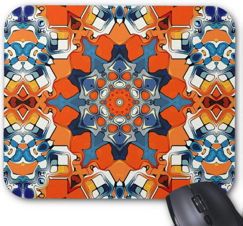 Blue And Orange Abstract Mouse Pad