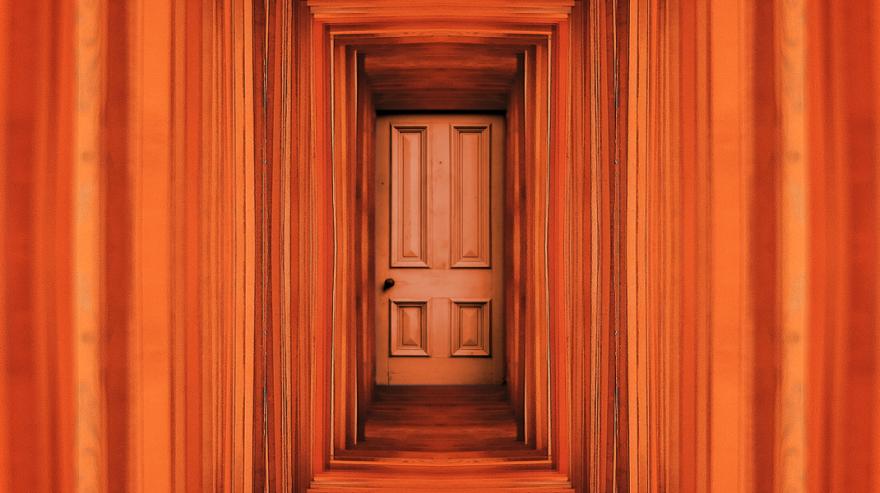 Orange Planks Hall And Door