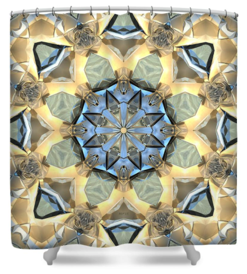 Reflections of Gold And Blue Shower Curtain