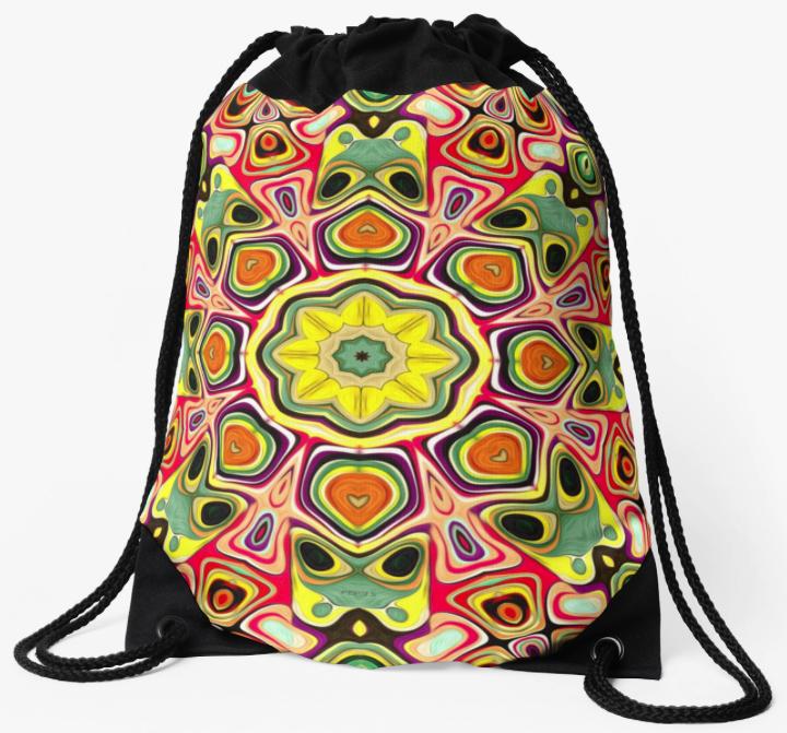 Colorful Abstract Pattern Drawstring Bag