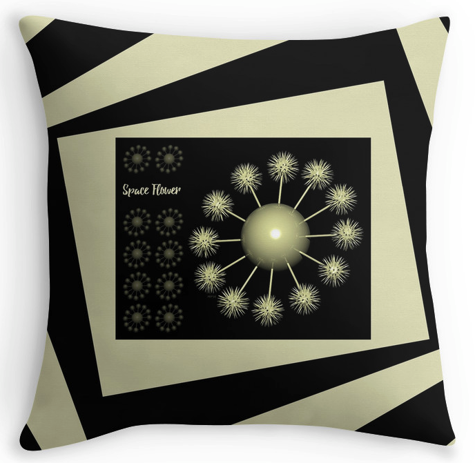3D Space Flower Throw Pillow