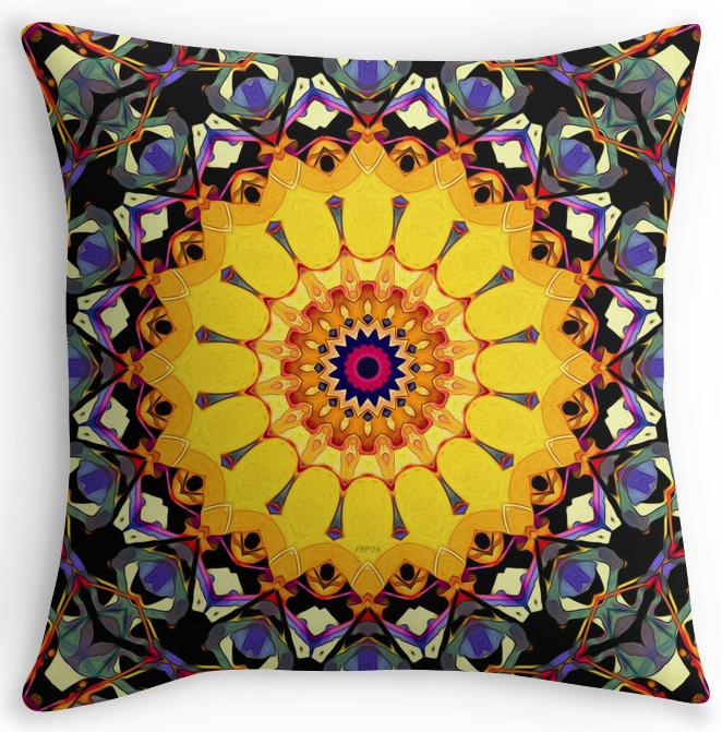 Golden Mandala Abstract Throw Pillow