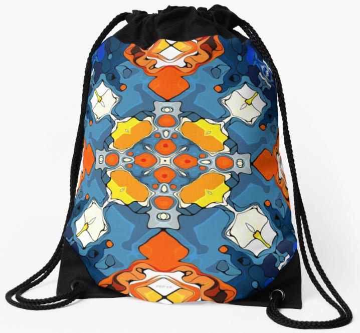 Blue And Orange Drawstring Bag