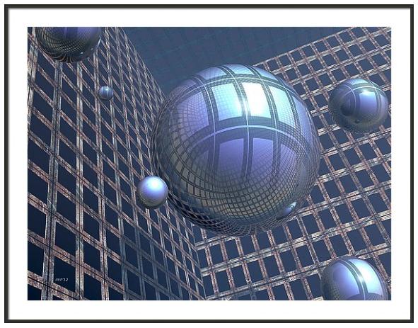 Blue Spheres Framed
