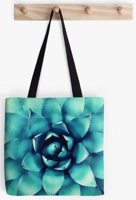 Turquoise Succulent Plant Tote Bag