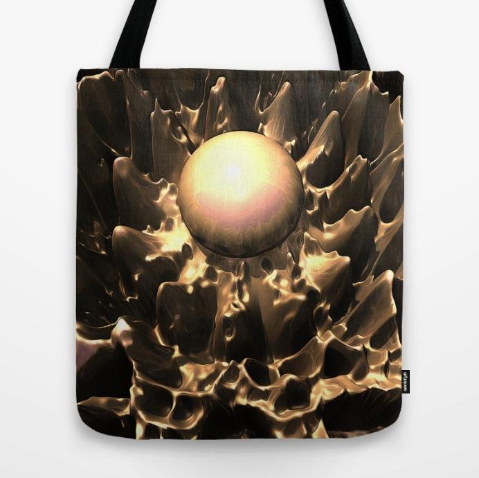 Glowing Golden Orb Tote Bag