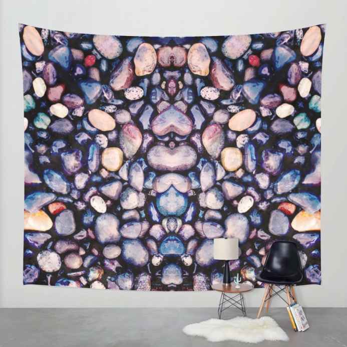 Pebbles On Beach Wall Tapestry