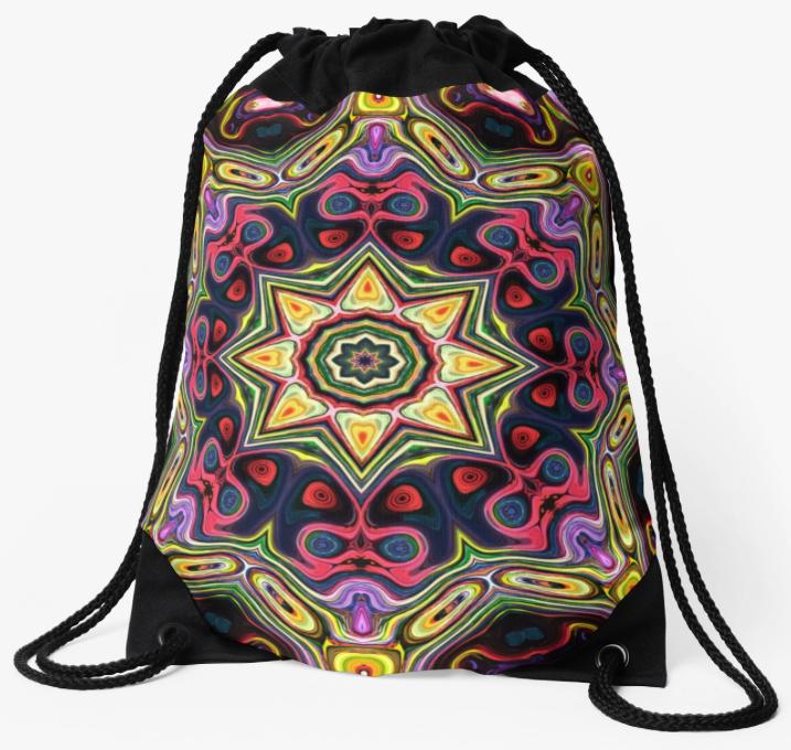 Abstract Sun Drawstring Bag