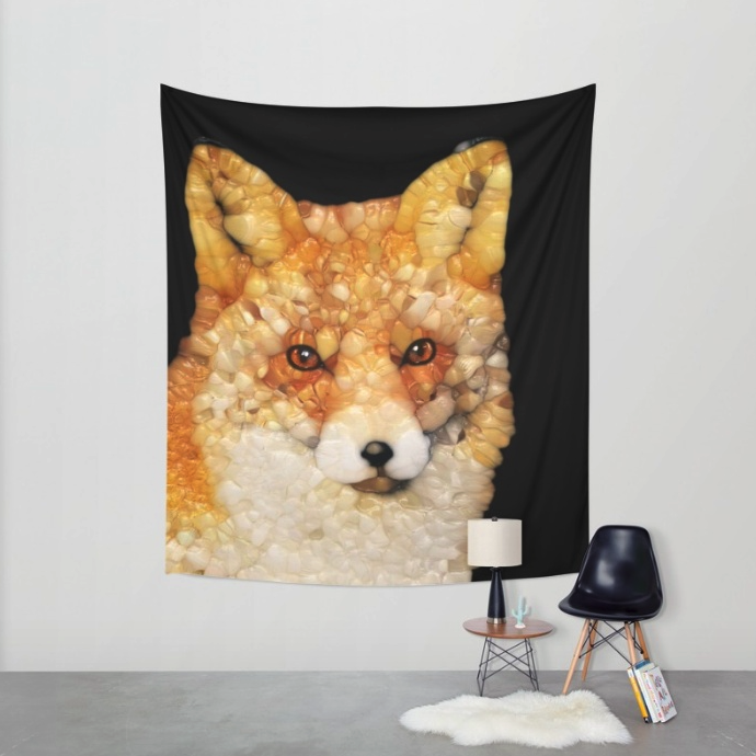 Red Fox Abstract Wall Tapestry