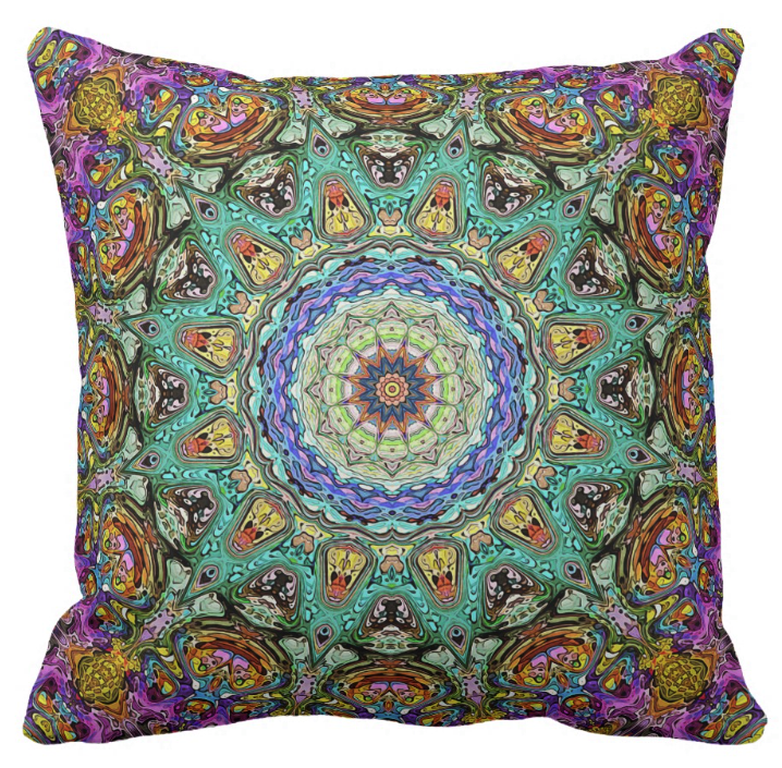 Abstract Green And Purple Pillow