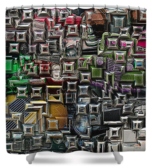 Abstract Automotive Shower Curtain