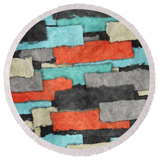 Patches Collage Round Beach Towel