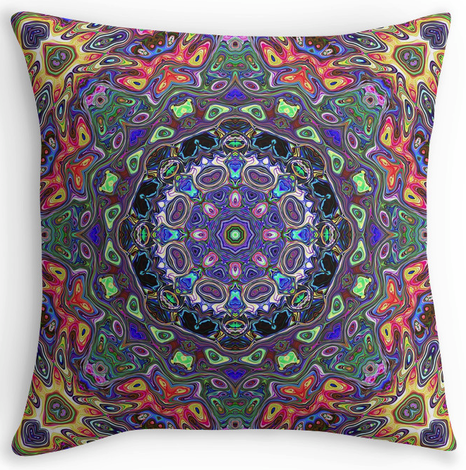 Concentric Colors Throw Pillow
