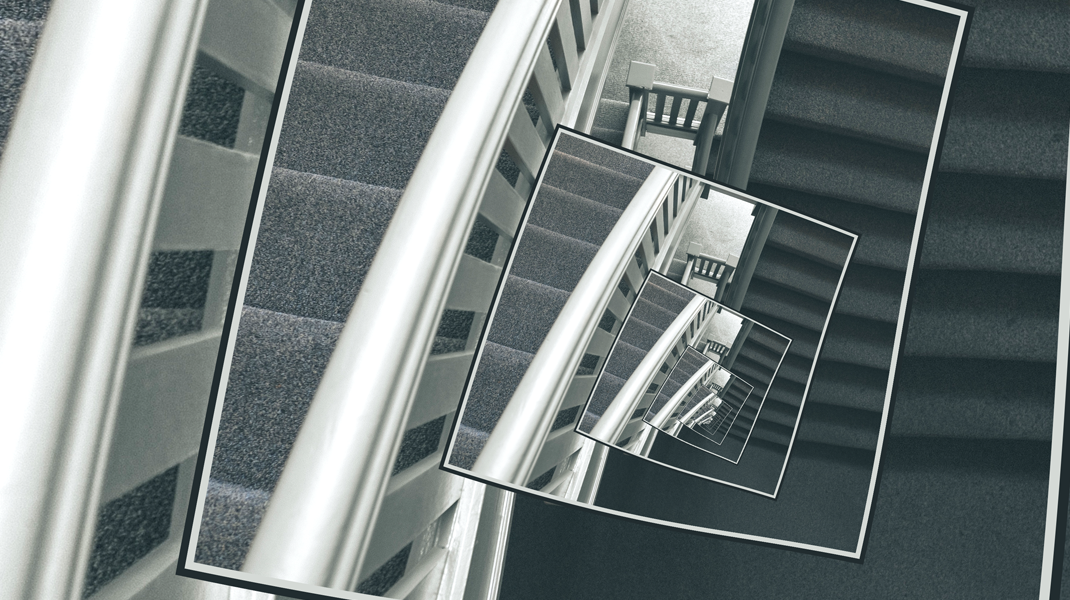 Spinning Carpeted Stairwell