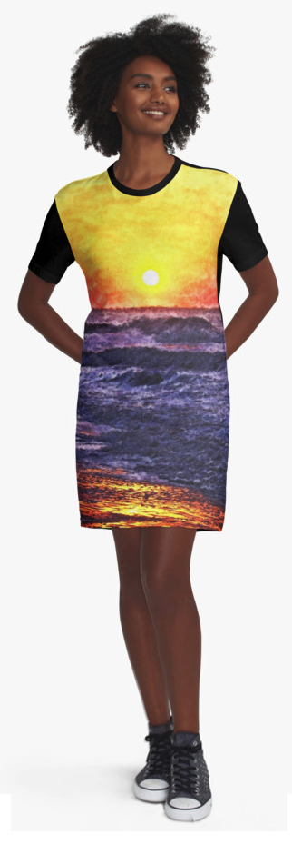 Ocean Sunrise T-shirt Dresses