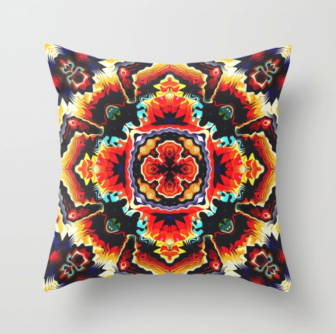 Geometric Motif Throw Pillow