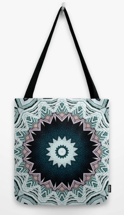 Blue Green Mandala Tote Bag