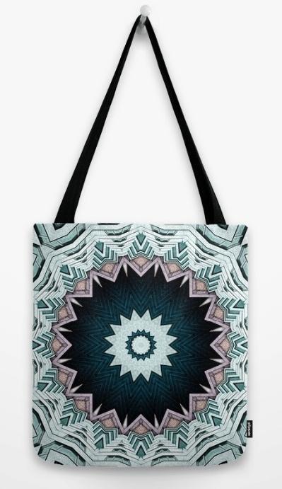 Blue Green Mandala Tote Bag