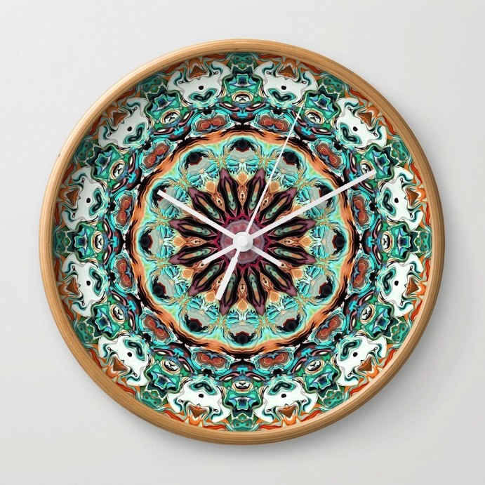 Ornate Orange And Green Clock