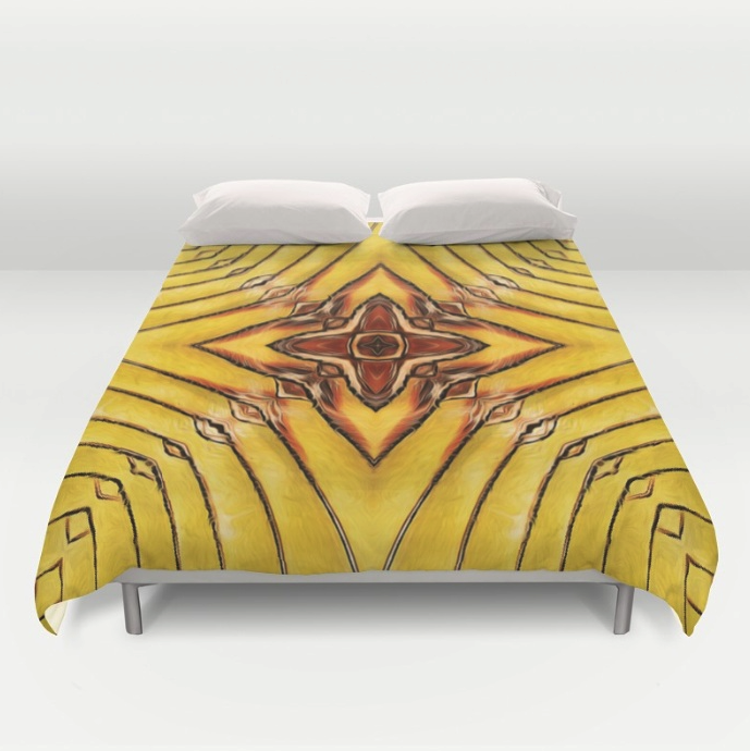 Golden Palm Frond Duvet Cover