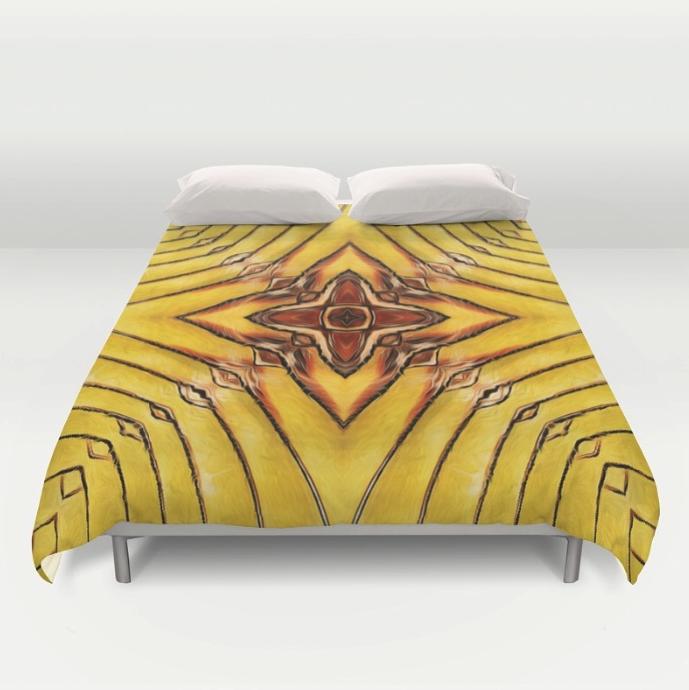 Golden Palm Frond Duvet Cover