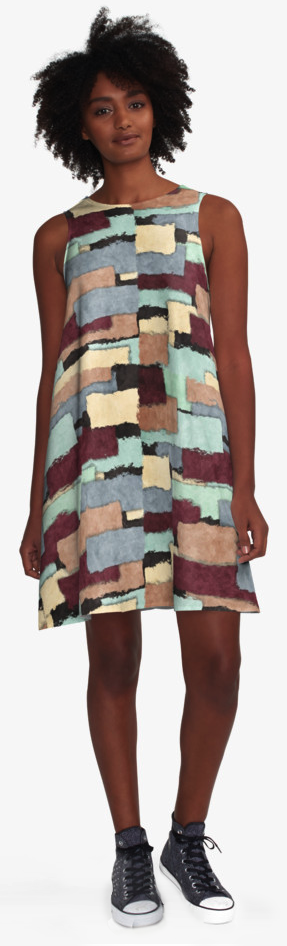 Abstract Patchwork A-Line Dress