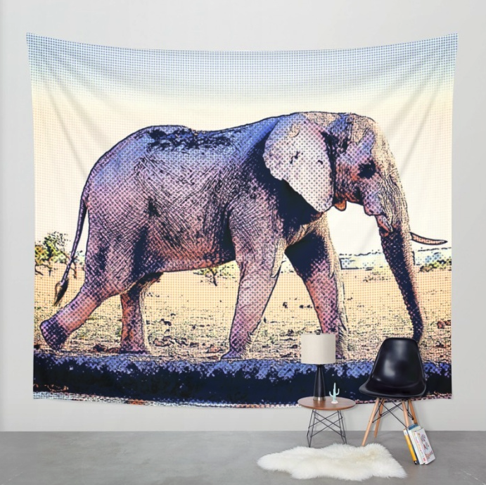 Walking Elephant Wall Tapestry