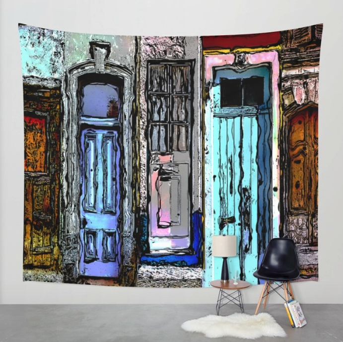 Colorful Doors Collage Tapestry