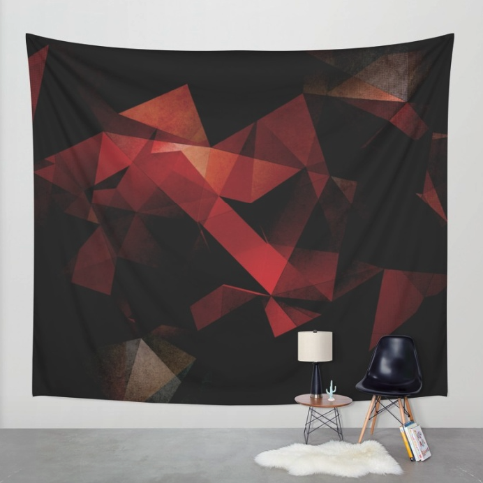 Geometric Orange Abstract Tapestry