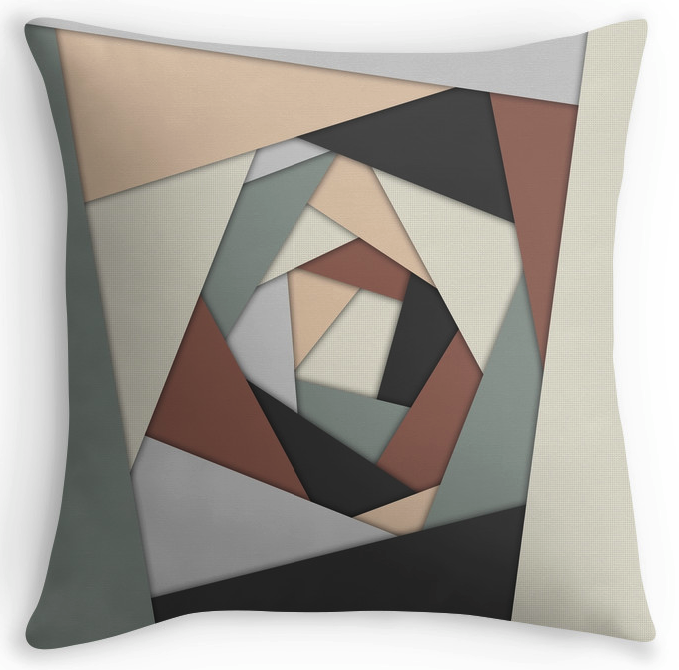 Earth Tones Layers Throw Pillow