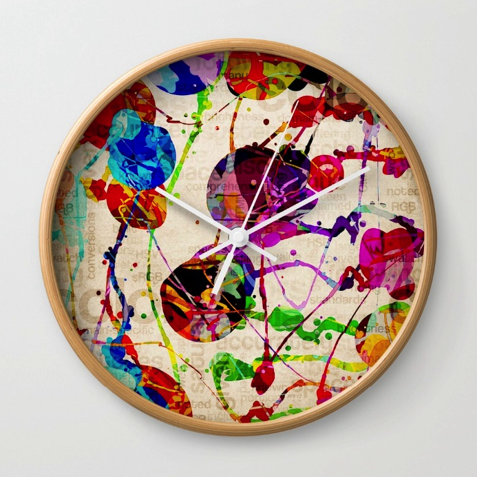 Abstract Expressionism Wall Clock