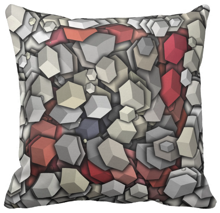 Chaotic 3D Cubes Throw Pillow