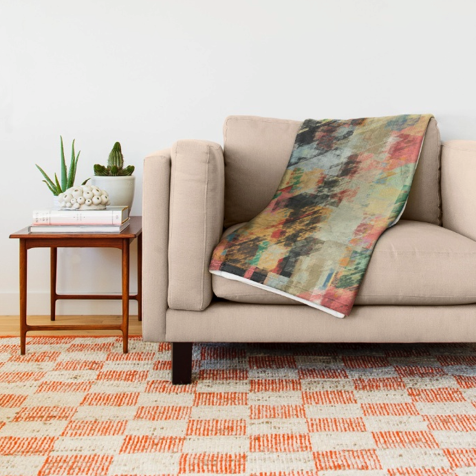 Abstract Pastels Throw Blanket
