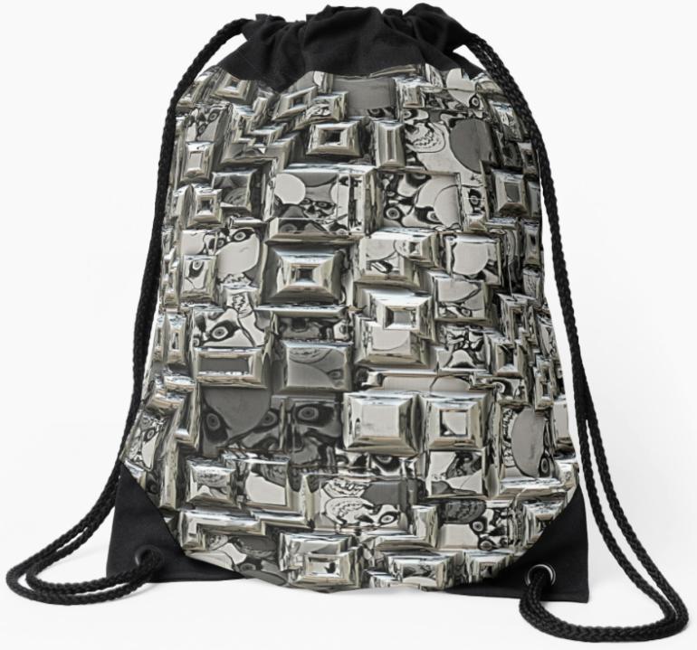 Geometric Skulls Drawstring Bag