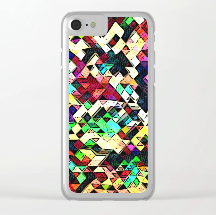 Geometric Grunge Clear iPhone Case