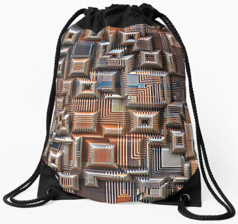 3D Digital Circuitry Drawstring Bag
