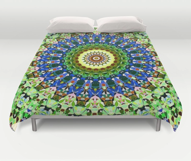 Blue And Green Pattern Duvet Cover