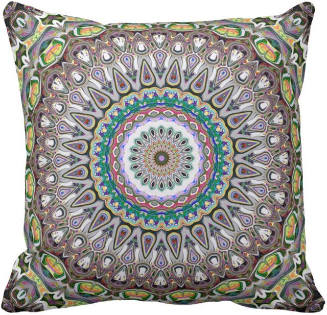 Colorful Kaleidoscope Throw Pillow