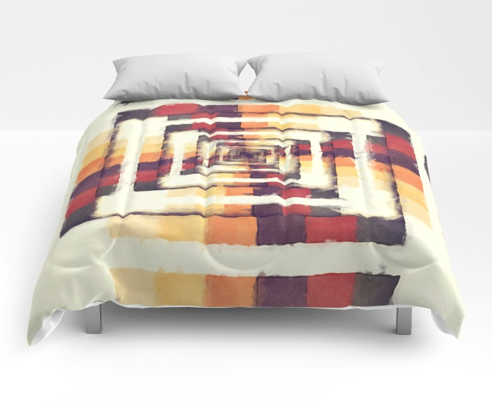 Geometric Boxes of Color Comforter