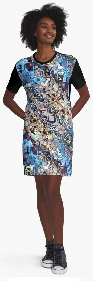 Colorful Pattern Graphic T-shirt Dress