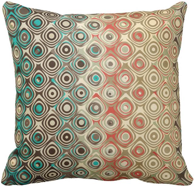 Retro Circles Pattern Throw Pillow