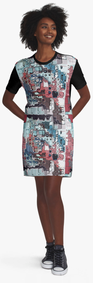 Colorful Abstract Graphic T-shirt Dress